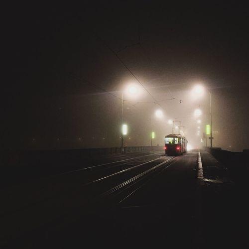 Fog in Prague, Czech Republic Tramway Tram Night Tram Into Darkness Night Bridge Prague Tramvaj Dark Tram Transport Foggy Night Fog In City Night Fog