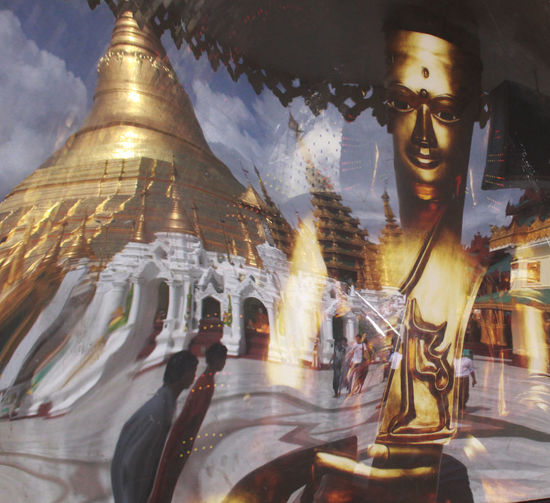 shwedagon with people Religion Gold