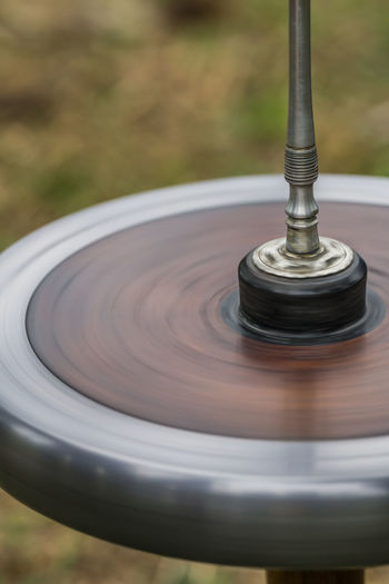High angle view of spinning top