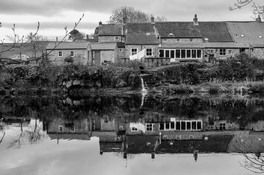 Landscape Waterscape Water Reflections My Point Of View Blackandwhite EyeEm Gallery Countryside Blackandwhite Photography Bnw_collection EyeEm Best Shots Black And White Water_collection Built Structure Building Exterior Architecture Building Water Nature Sky House Waterfront Reflection