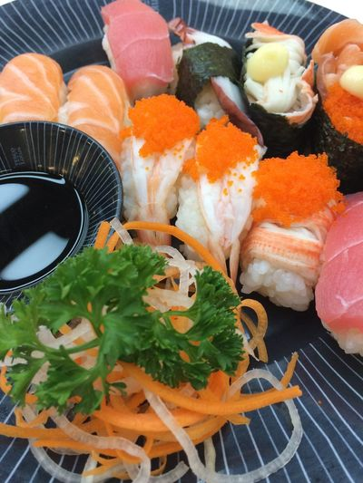 Food Food And Drink Healthy Eating Freshness Seafood Ready-to-eat Wellbeing Still Life No People Japanese Food Close-up Indoors  Sushi High Angle View Plate Asian Food Serving Size Rice Fish