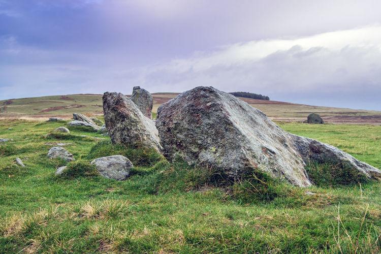 Rock on field against sky