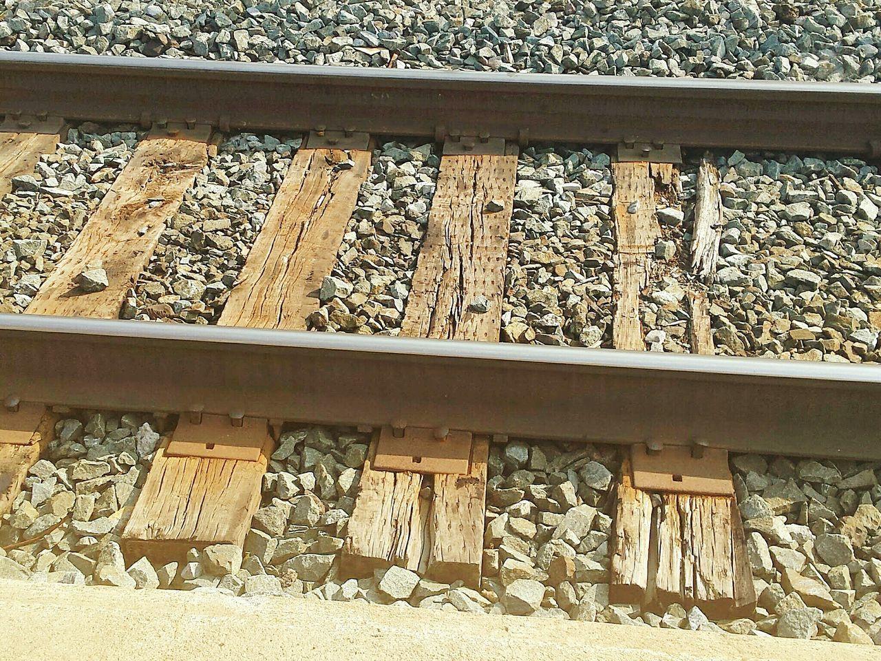 railroad track, rail transportation, day, railroad tie, no people, rock - object, outdoors