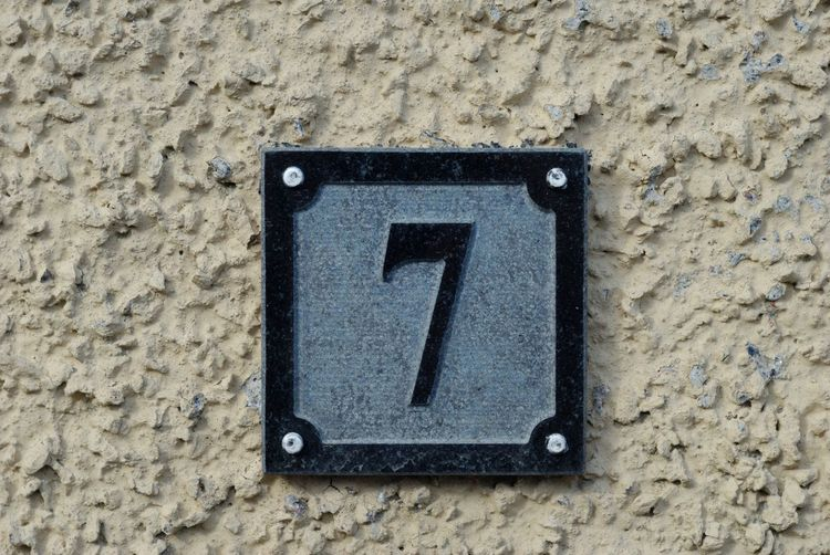 7 Numbers Only Seven Close-up Communication Day No People Numbers Outdoors Technology Textured