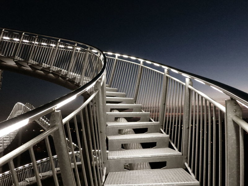 Architecture Building Building Exterior Built Structure City Clear Sky Copy Space Illuminated Low Angle View Metal Modern Night No People Outdoors Railing Sky Staircase Steps Steps And Staircases Tiger & Turtle Tiger And Turtle