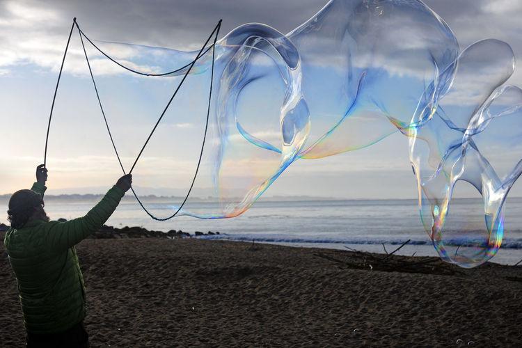 Making bubbles.