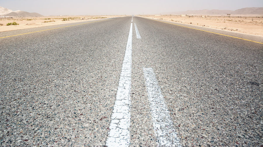 Surface level of road in desert