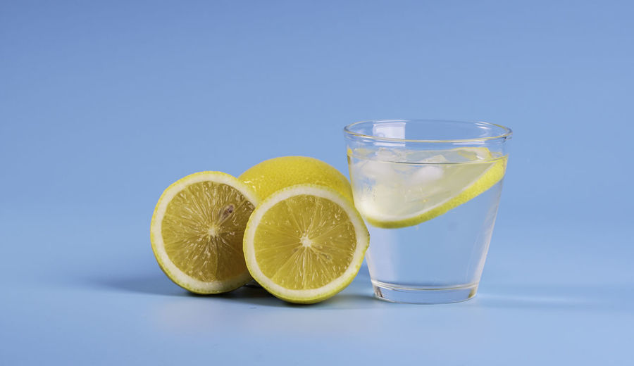 Drink on table against white background