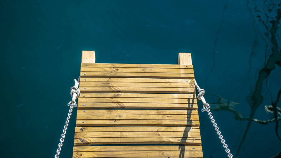 High angle view of pier on swimming pool