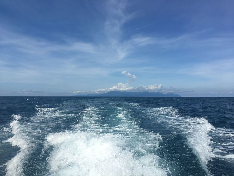 Sea Water Sky Scenics - Nature Horizon Over Water Beauty In Nature Horizon Tranquility Motion Nature Cloud - Sky Day Blue Wake - Water No People