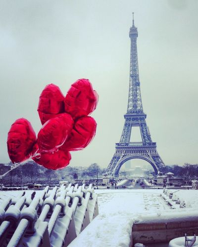 Snow City Love Ballons Tour Eiffel Paris Tower Outdoors Architecture Red No People Travel Destinations Cold Temperature