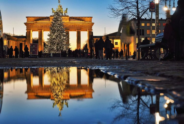 Brandenburg Gate , Berlin Dec'16 // Reflection Built Structure Architecture Travel Travel Destinations City City Gate Germany Landmark Olympus Mirrorless My Year My View Low Angle View Winter Gate Christmas Tree Christmas Lights