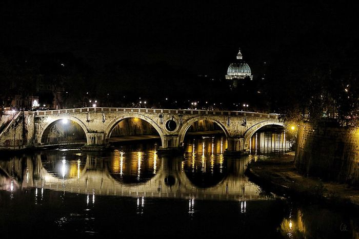 This a classic view of Rome: Ponte Sisto and San Pietro Reflection Illuminated Architecture Night Water Bridge - Man Made Structure River City Travel Destinations No People EyeEm EyeEmBestPics Taking Photos EyeEm Gallery Tourist Rome Malephotographerofthemonth From My Point Of View EyeEm Best Shots Nightphotography Night Lights Night Photography
