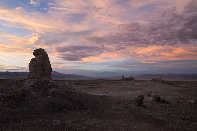Moments after sunset. Trona Pinnacles Desert California Sunset