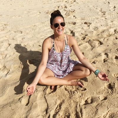 Young happy woman meditates on the beach Beach Casual Clothing Happiness Happy Happy People Life Is A Beach Lifestyle Meditation Mental Person Portrait Relaxation Relaxing Sand Sitting Smile Smiling Spiritual State Summer Sunglasses Travel Photography Vacations Woman Young Women