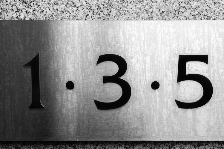 Close-up of numbers mounted on wall