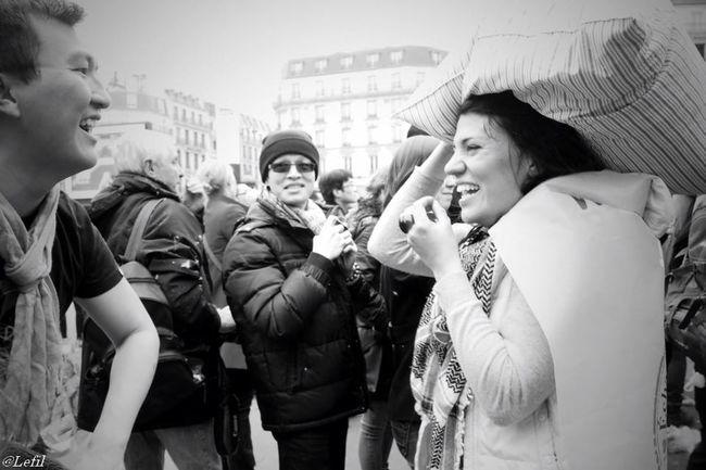 The Human Condition Joy Joyful Paris, France  Pillows Blackandwhite Smiling Share