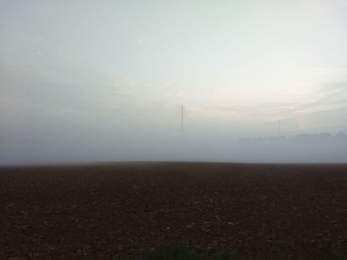 Pylon Power Line  Fog Agriculture Rural Scene Weather Sky Landscape Plowed Field Cultivated Land Farmland Farm