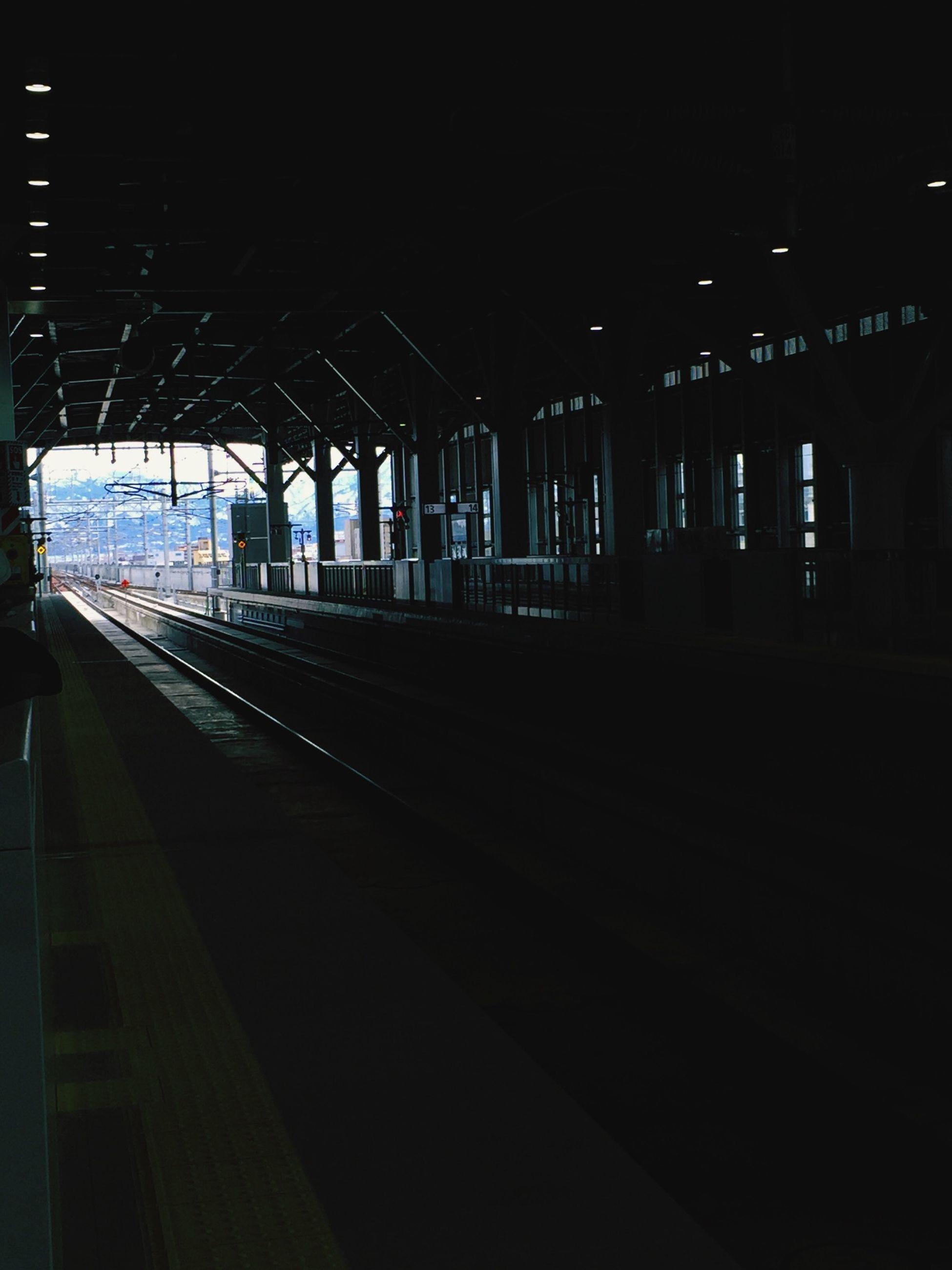 transportation, railroad track, railroad station, railroad station platform, rail transportation, public transportation, built structure, architecture, travel, dark, travel destinations, station, the way forward, long, day, straight, journey, subway station, interior, platform