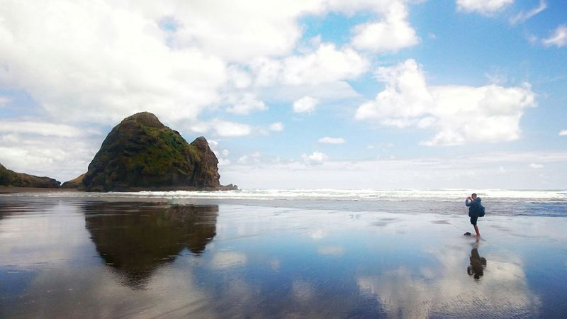 Reflection Water Beach Travel Destinations Cloud - Sky Outdoors Tranquility New Zealand XPERIA Snapseed Phonetography PhonePhotography Piha Beach