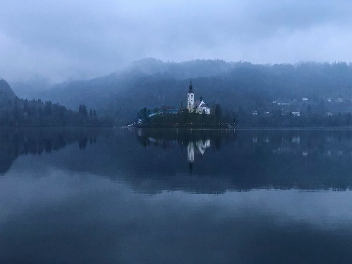 Landmark Island Church Lake Bled Slovenia Water Transportation Nautical Vessel Mode Of Transportation Sky Sea Nature Cloud - Sky Scenics - Nature Beauty In Nature Reflection Day No People Outdoors Travel