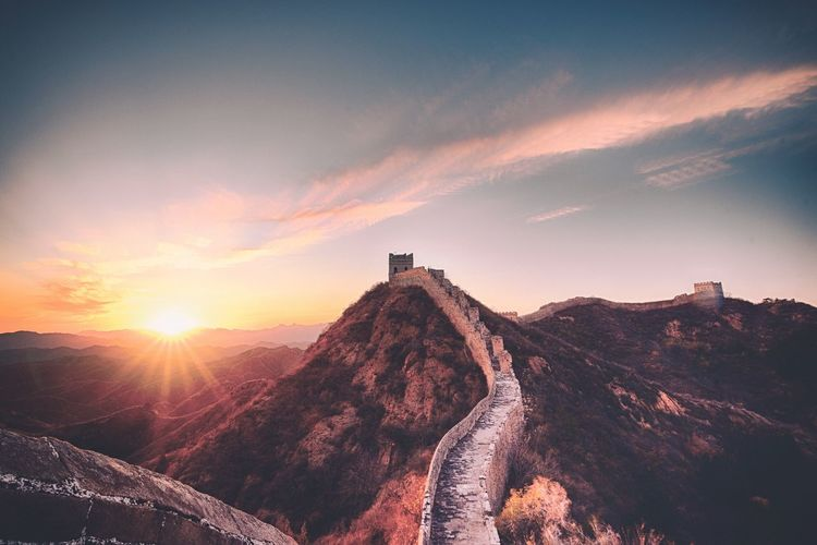 Great Wall Of China Against Sky During Sunset