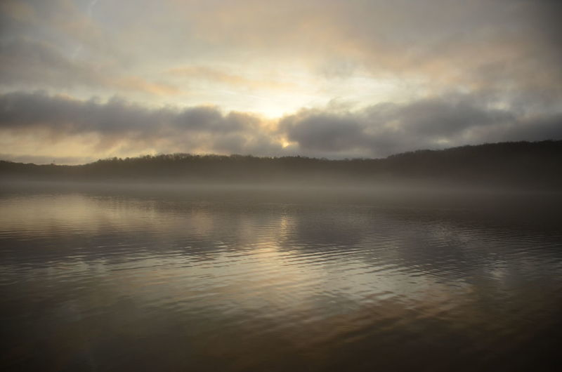Water Tranquility Sky Tranquil Scene Reflection Scenics - Nature Beauty In Nature Cloud - Sky No People Lake Idyllic Nature Non-urban Scene Sunset Waterfront Sunlight Fog Outdoors New Years Day 2019