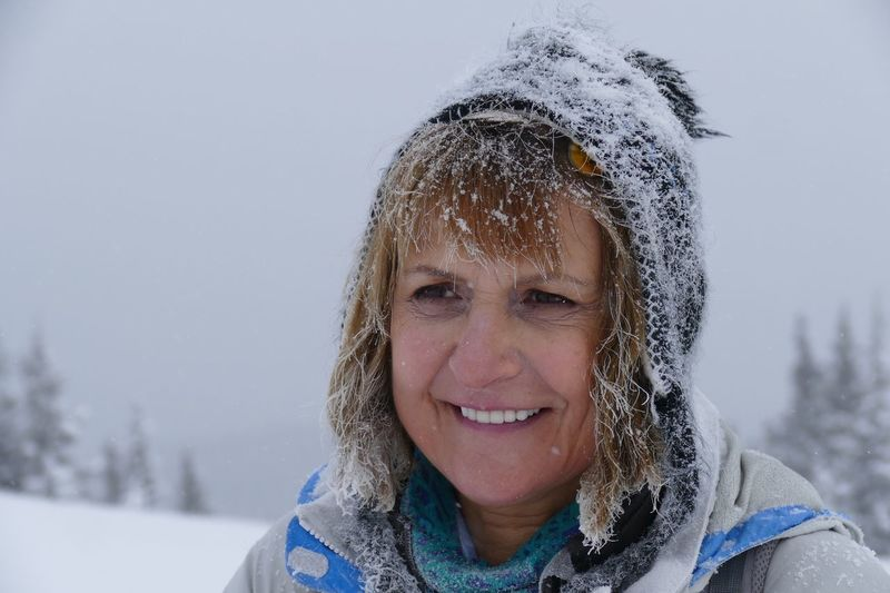 EyeEm Selects Anne D. Winter Looking At Camera Portrait Smiling Headshot Happiness One Person Outdoors Leisure Activity Lifestyles Cold Temperature Snow Mature Woman Smiling Eyes Real People Hiking