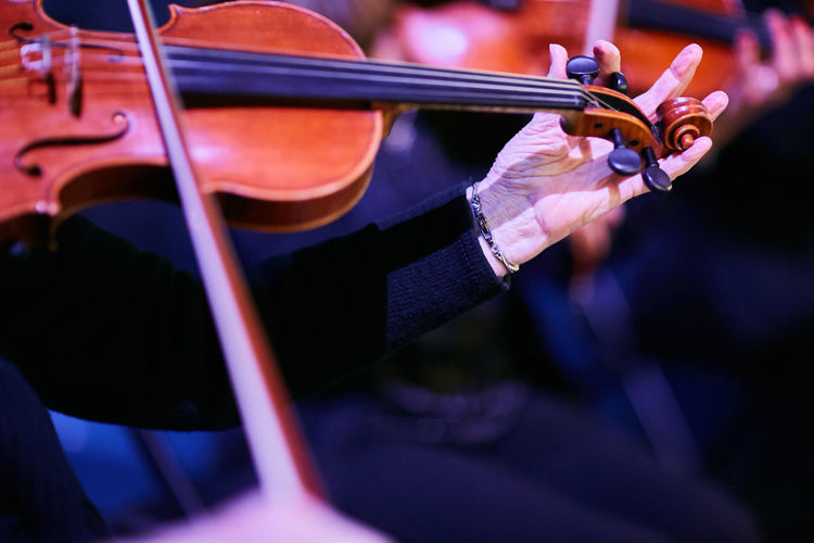 Cropped Image Of Musician Playing Violin