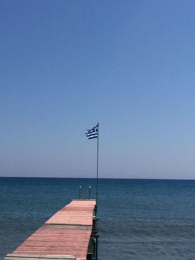 Beauty In Nature Blue Clear Sky Day Grecia Greece Greek Flag Horizon Over Water Kos Kos Island Nature No People Outdoors Pontile Scenics Sea Sky Tranquility Water