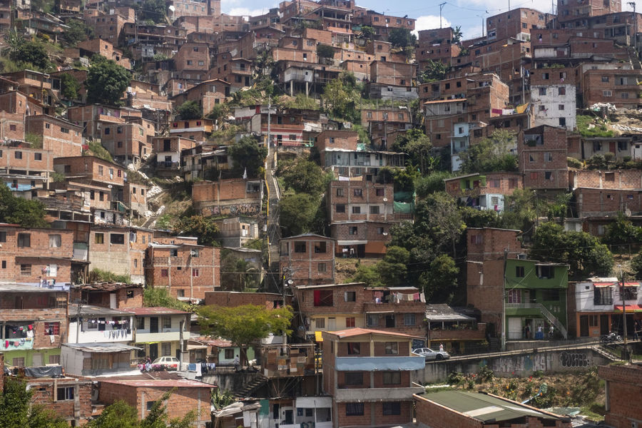 Comuna 13 Colombia Medellin City Medellín Antioquia Architecture Building Exterior Built Structure City City Life Cityscape Community Comuna Comuna 13 Crowded Day Favela Ghetto Ghettolife High Angle View Poverty Residential District Roof Slums