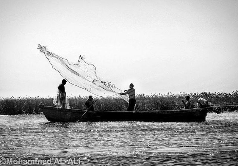Canon 350D Canon350D Landscape Blackandwhite Monochrome Basrah Iraq Marshes Fisherman Fishing Boat Net Web Cane Water