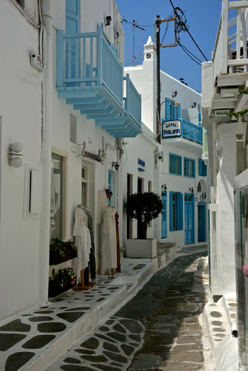 street view with white buildings with blue windows and balcony in Mykonos Architecture Building Exterior Building Built Structure Residential District The Way Forward City Street Day No People Narrow Alley Footpath White Color Nature Town House Outdoors Greek Architecture Street View Mykonos,Greece Blue Window White Building Travel Destinations Lifestyles Village