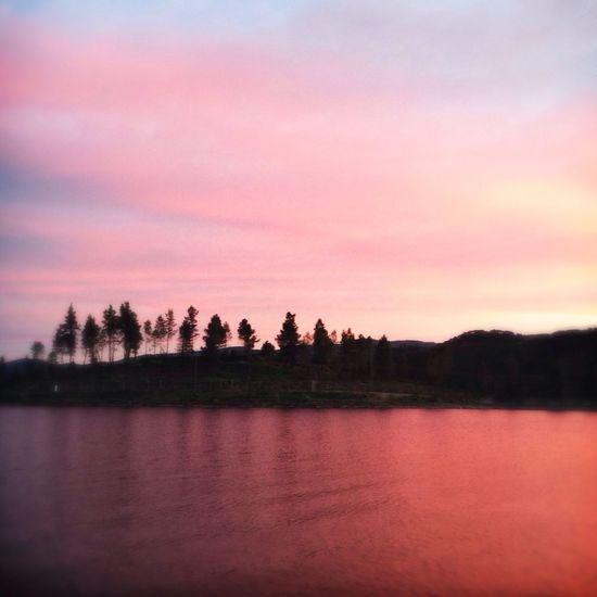 Landscape Sunset Reflection Silhouette