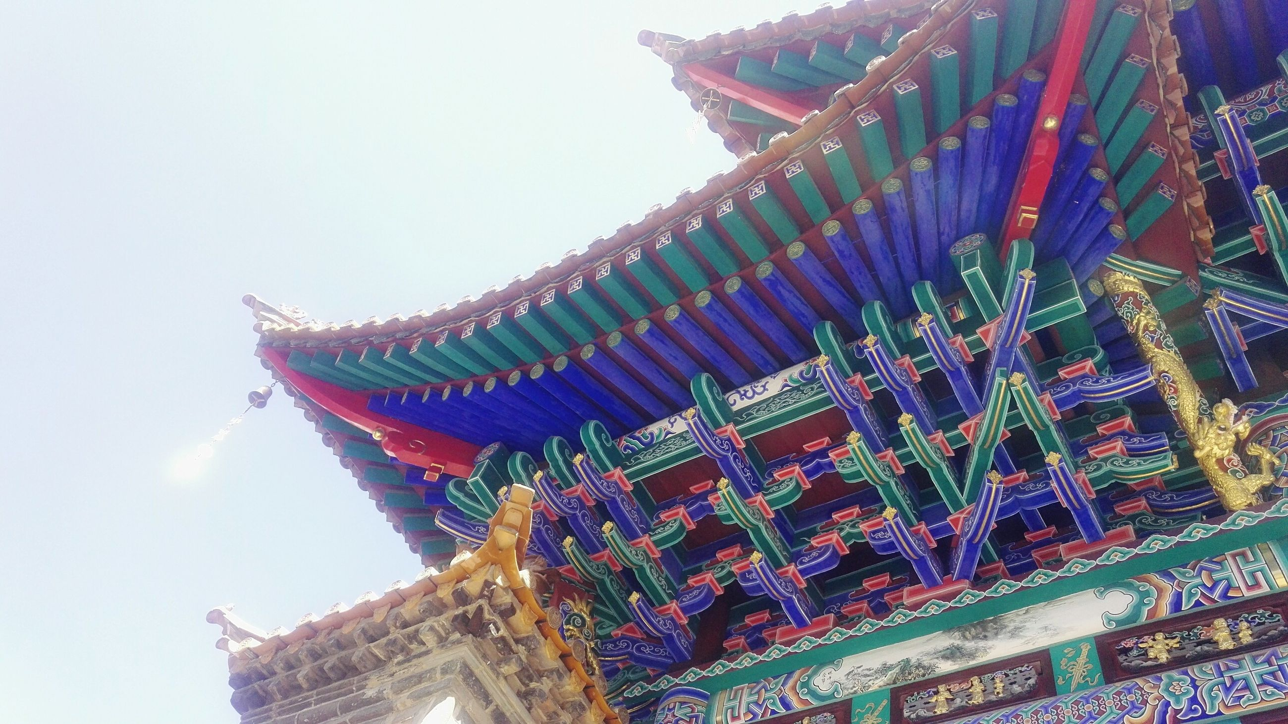 low angle view, multi colored, built structure, no people, building exterior, clear sky, architecture, outdoors, day, sky