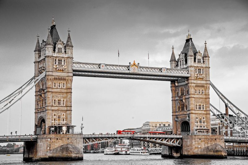 Tower Bridge in selective color EyeEm Selects Architecture Built Structure Tower Building Exterior Sky Travel Destinations Clock Tower Connection Building Bridge Nature City No People Bridge - Man Made Structure Water Tall - High Outdoors Travel Clock