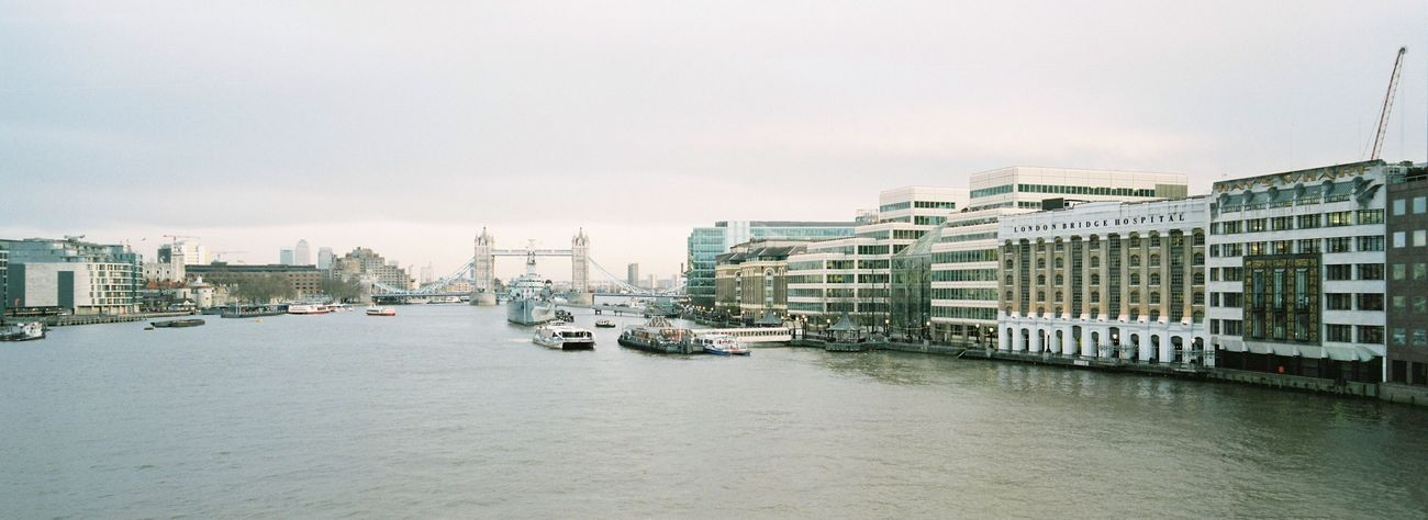 Looking East from London Bridge / Hasselblad XPan, Kodak Portra 400 Film