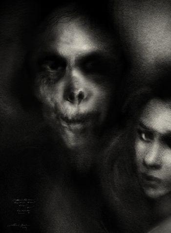 Maxim et Leona, charcoal conte drawing Darkart Drawing Portrait ArtWork Blackdrawing