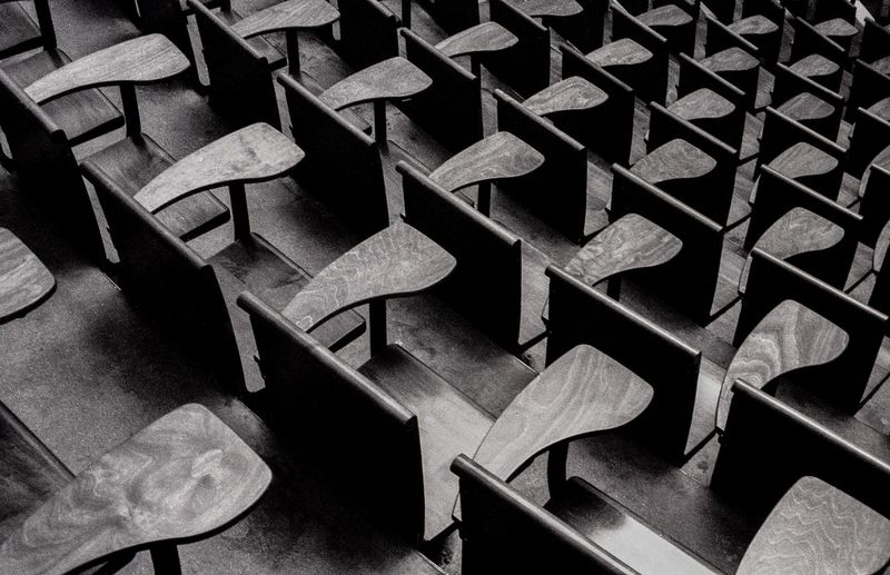 Full frame shot of empty desks in a classroom