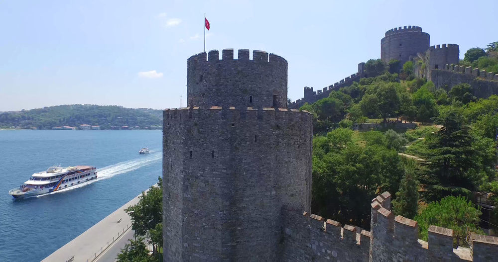 Aerial view of Istanbul Bosphorus EyeEm Hisar Nature Travel Aerial Architecture Building Exterior Built Structure City Day Flag Fort History Kale Nature No People Outdoors Ship Sky Travel Destinations Tree Water