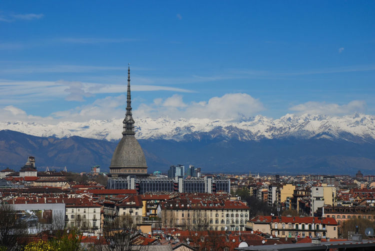 The iconic spire of mole antonelliana in turin in italy