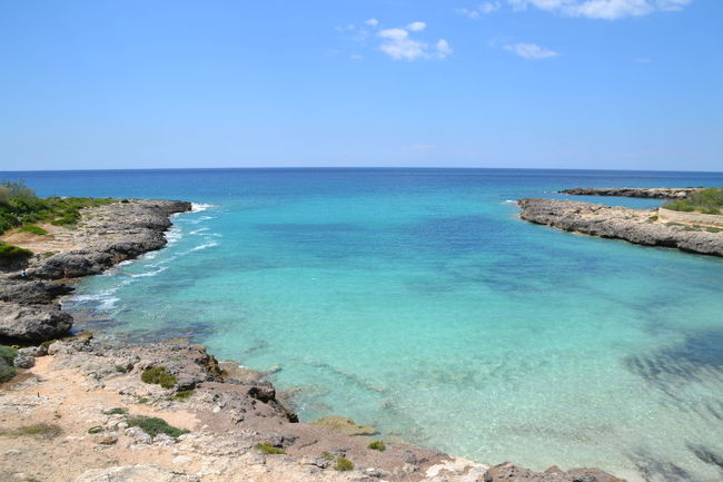 Sea Beach Horizon Over Water Blue Travel Destinations Tourism Vacations Scenics Sky Water Tranquility Sand Beauty In Nature Coastline Landscape Clear Sky Tranquil Scene Nature Outdoors Puglia Southern Italy