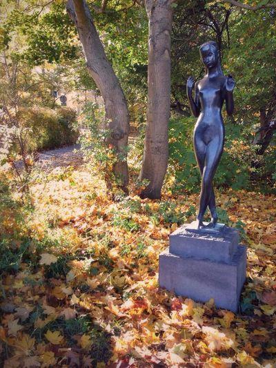Autumn Statue Soaking Up The Sun