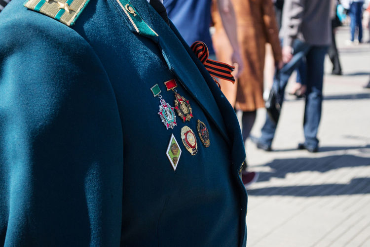Belarus Ussr Russia Real People Men Clothing Outdoors Day War World War 2 Military Military Parade Military Uniform Focus On Foreground Midsection Uniform Government
