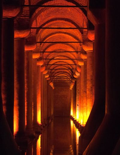 The Sarnic (or cistern) in Istanbul Turkey. In the book and movie 'Inferno'. Cistern Sarnic Istanbul Turkey Water Columns Art Ancient