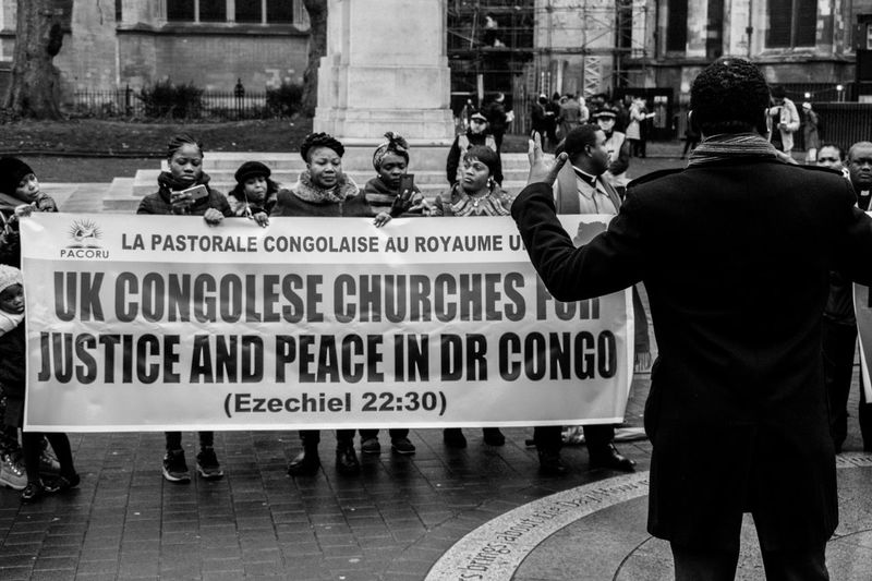 """""""Churches for Peace"""" Police Force City Real People People Outdoors Protest Protesters Churces London DR Congo Westminster Houses Of Parliament"""