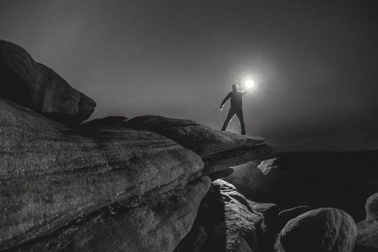 Light Reaching Man Stand Tall Cloudy Sky Illuminated Men Adventure Standing Hiker Hiking Mountain Climbing