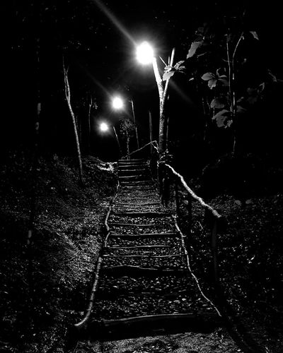 light will guide... #blackandwhite #note8 Night No People Nature Railroad Track Outdoors Lighting Equipment