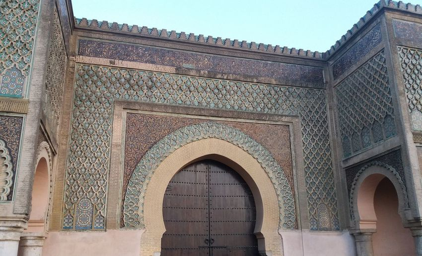 Bab Mansour one of the most important sites in Meknes Morocco. Meknès Arch Architecture Built Structure Decorated Wall Door History Patterned