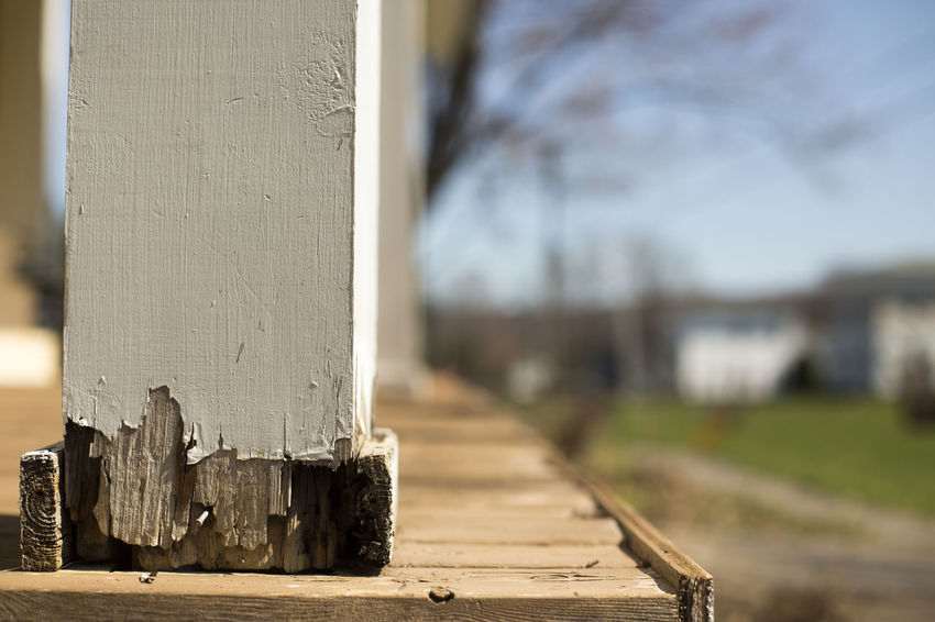 Horizontal image of chipping paint on a porch. Chipping Paint Copy Space Decaying Nobody Post Pretty Sunnyday☀️ Termite Wood